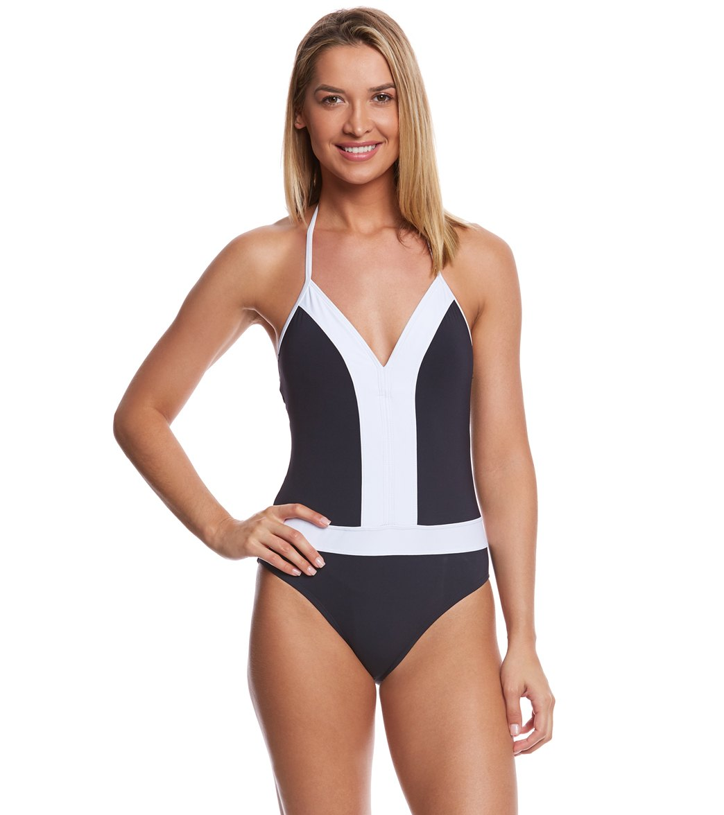02d70c7ad1b BLEU Rod Beattie Summer Plunge Halter One Piece Swimsuit at SwimOutlet.com  - Free Shipping