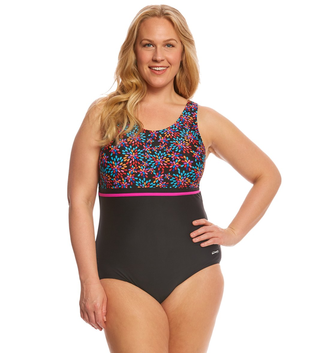 937d7e18cf7a6 Waterpro Women s Plus Size Floral Burst Splice U-Back One Piece Swimsuit