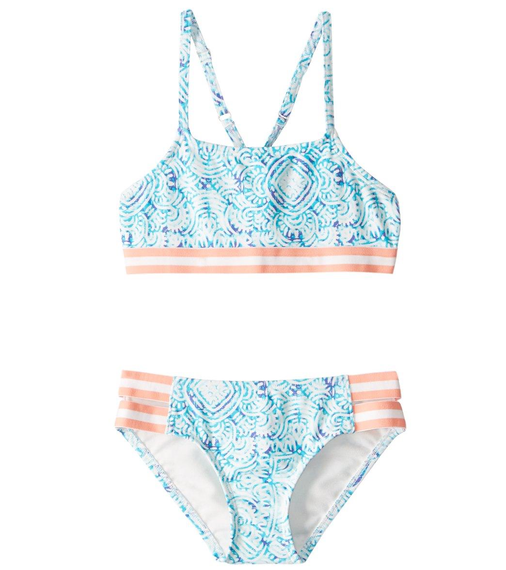 8f21c2794dd1b Roxy Girl's Caribbean Days Halter Bikini Set (7-16) at SwimOutlet.com