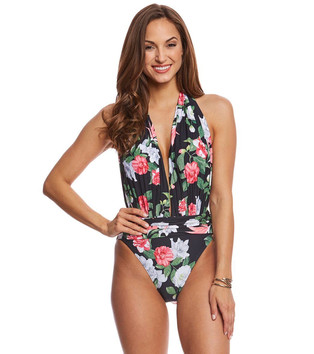 1d49c673eeca5 Vince Camuto Tropical Halter Plunge One Piece Swimsuit at ...