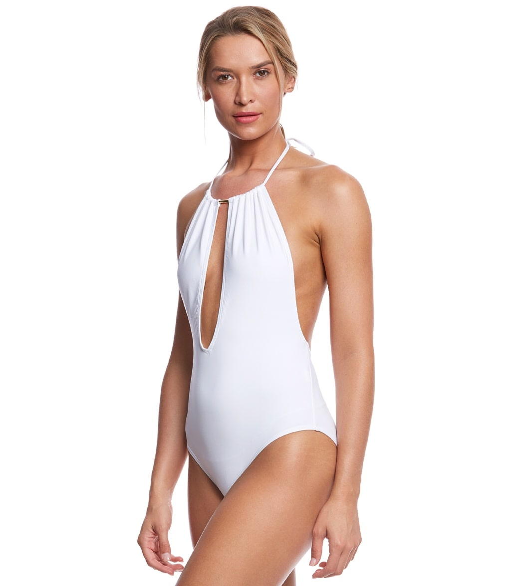 128ced7a62c Vince Camuto Hardwire High Neck Plunge One Piece Swimsuit at SwimOutlet.com  - Free Shipping