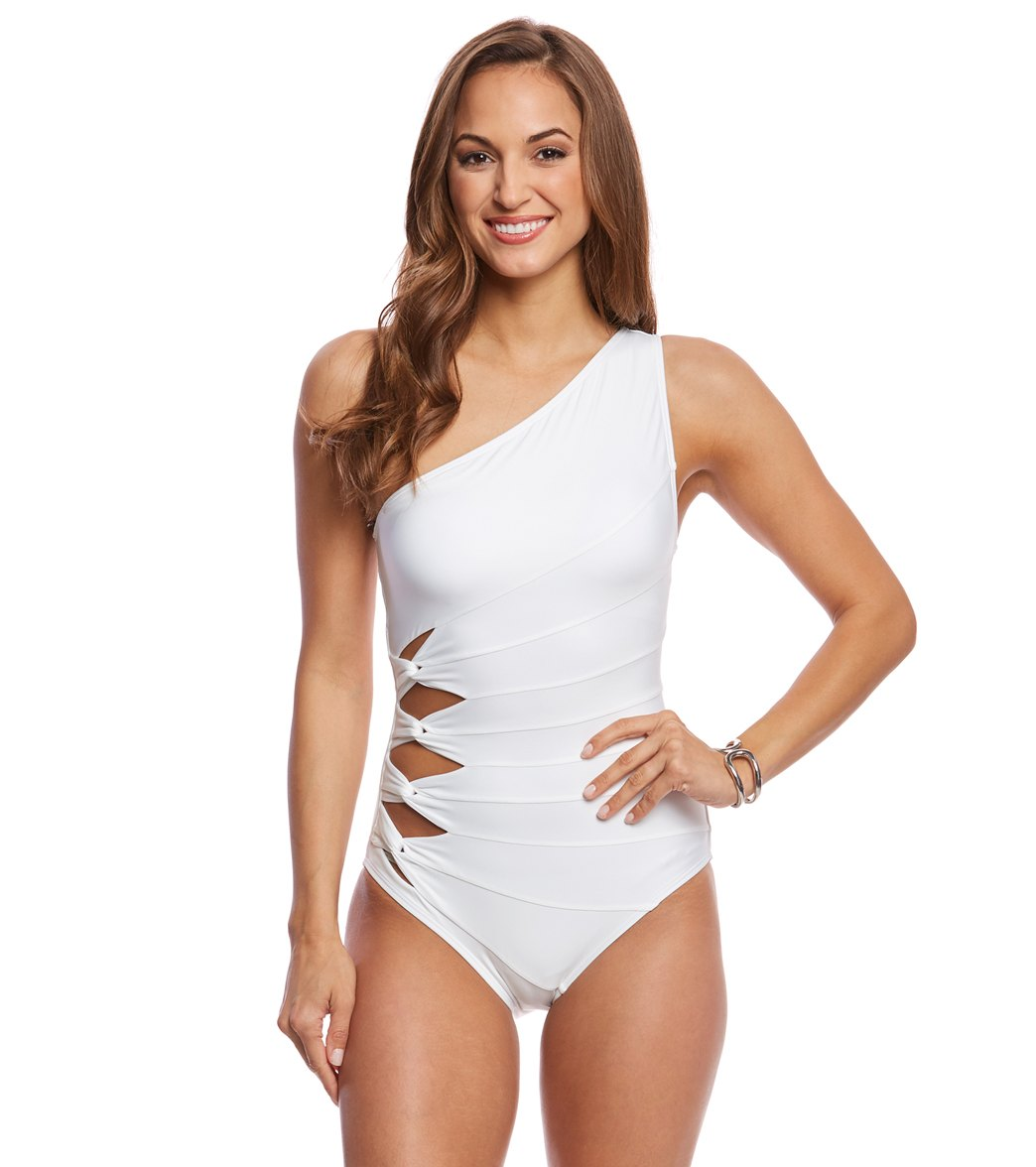Carmen Marc Valvo Classic Solid One Shoulder One Piece Swimsuit at ...