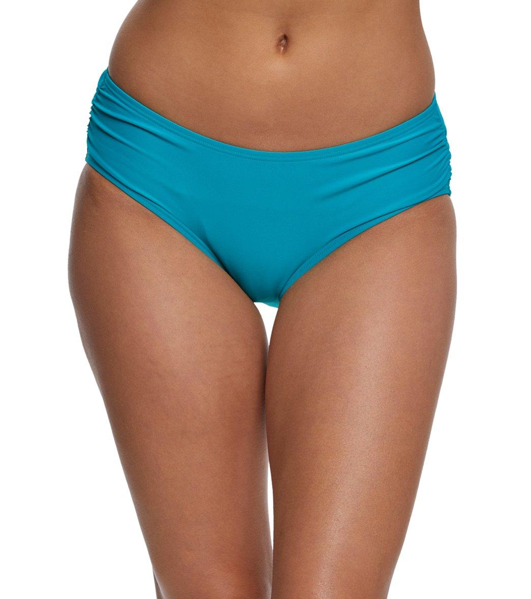 a828420897458 Coco Reef Classic Solid Side Shirred Bikini Bottom at SwimOutlet.com