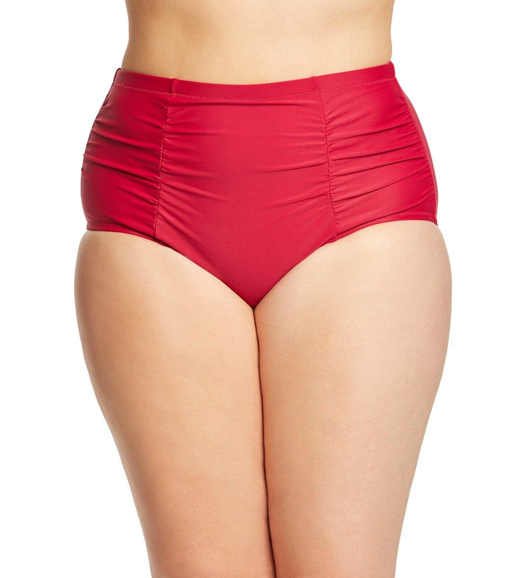a4cffed609f Raisins Curve Plus Size Solid Costa High Waist Bikini Bottom at  SwimOutlet.com