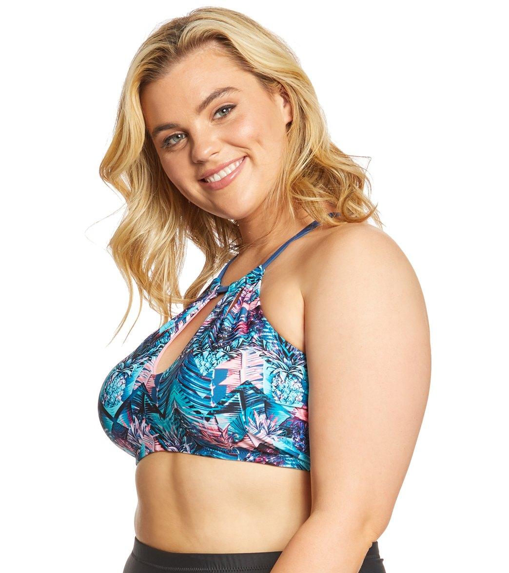 ffc74ec74d359 Raisins Curve Plus Size Indo Nights Rosalie High Neck Bikini Top at ...