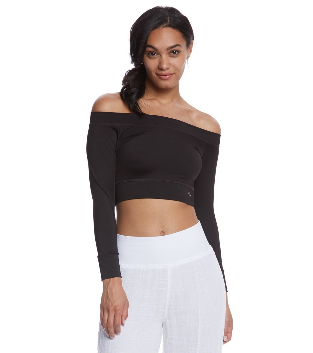8c355bc1792b7 Mika Yoga Wear Chloe Tie Back Crop Long Sleeve at YogaOutlet.com ...