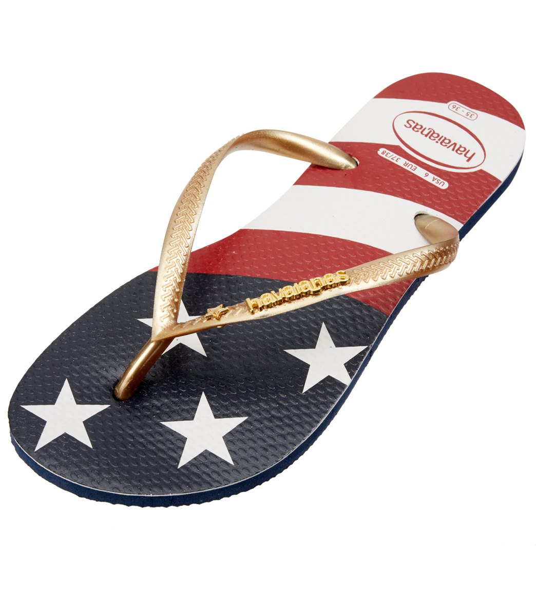 1d678dcd6dddfe Havaianas Women s Slim Wavy USA Flag Flip Flop at SwimOutlet.com