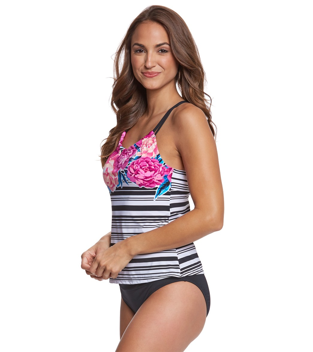 6af0b5627b9 Jantzen Floral Stripe H-Back Tankini Top at SwimOutlet.com - Free ...