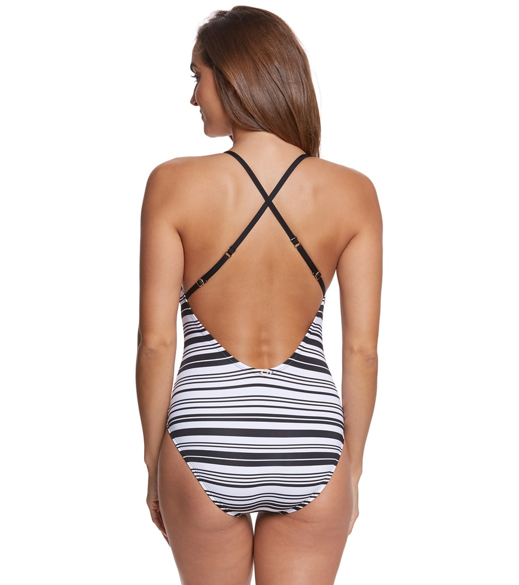 588d0bdcfdfbc Jantzen Floral Stripe Strappy Back One Piece Swimsuit at SwimOutlet ...
