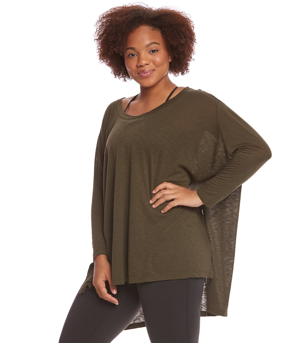 8bbb2a61590b7 Hard Tail Plus Size Oversized 3 4 Sleeve Raglan Layering Top at ...