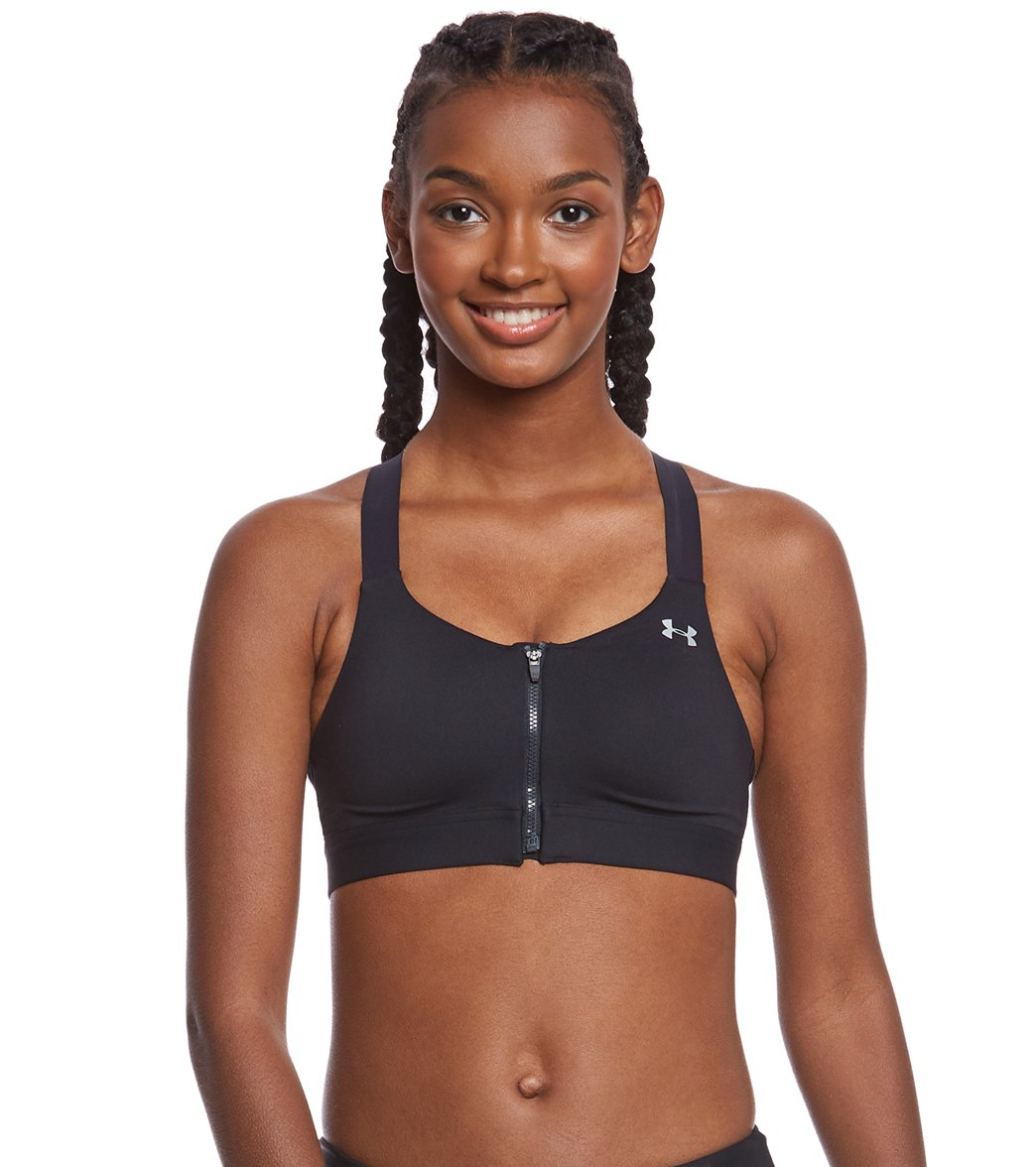 389fa4bb945 Under Armour Women s Eclipse High Zip Front Sports Bra at SwimOutlet.com -  Free Shipping