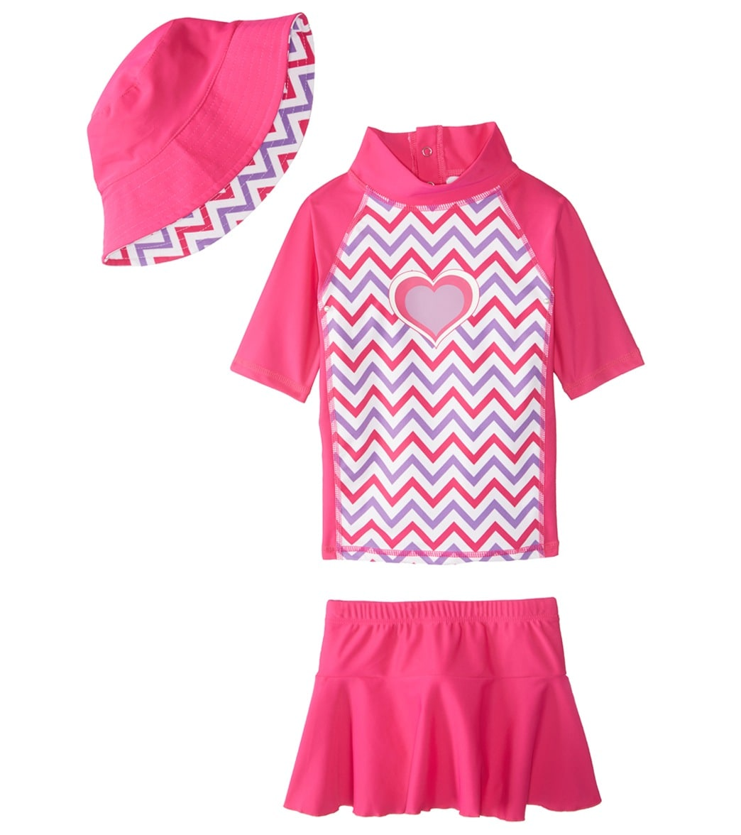 157d3e5c47737 Sporti Girls' UPF 50+ S/S Rash Guard and Cover Up Skirt Set with Sun ...