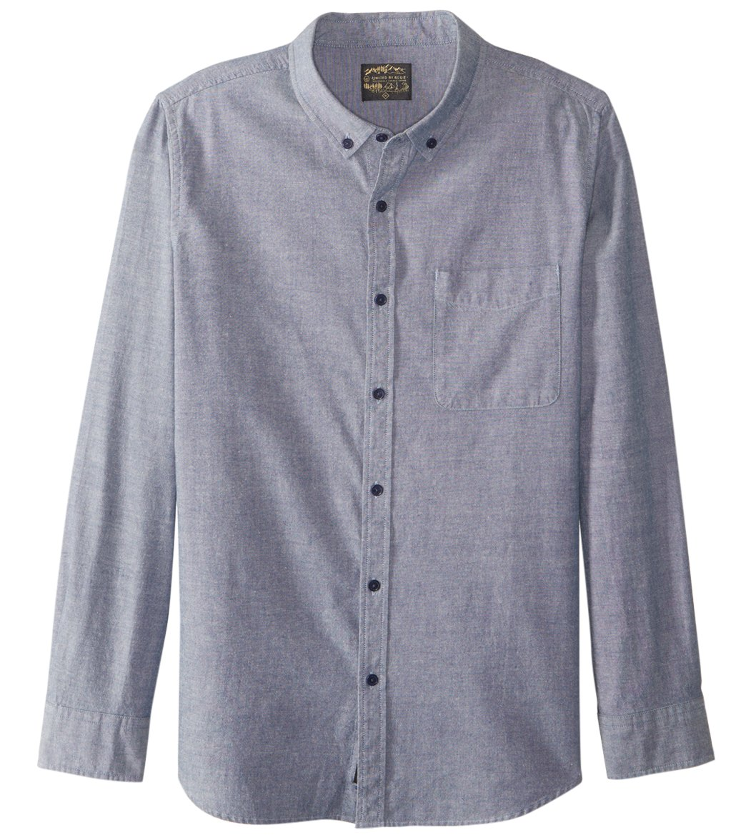 United By Blue Men's Bryce Chambray Long Sleeve Shirt - Blue Small Cotton - Swimoutlet.com