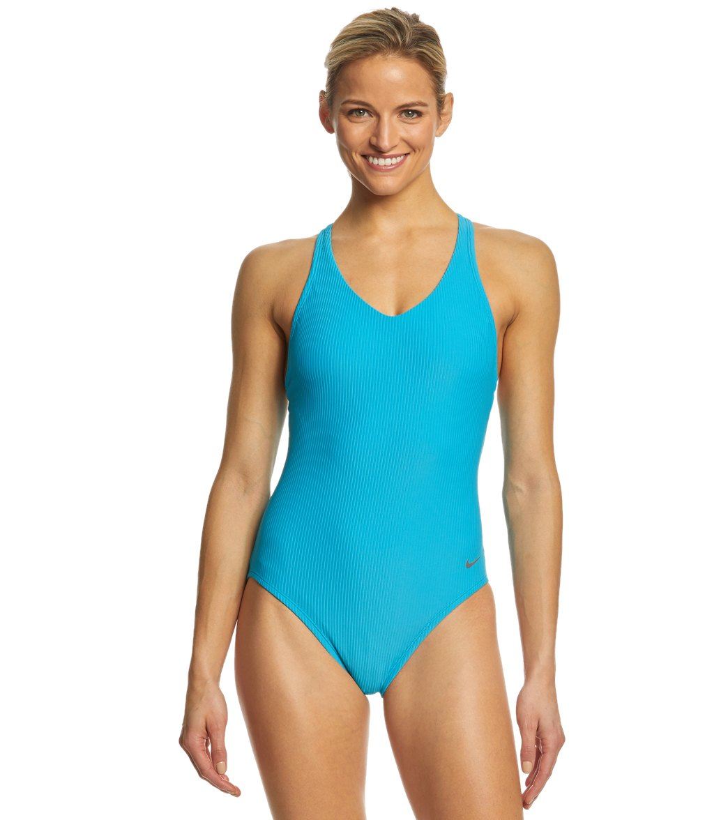 f1050f46ddd9a Nike Women s Ribbed Racerback One Piece Swimsuit at SwimOutlet.com - Free  Shipping