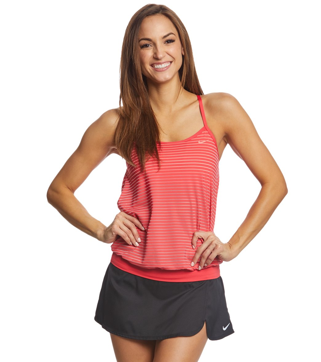61bb2061273 Nike Women's Stripe Layered Tankini Top