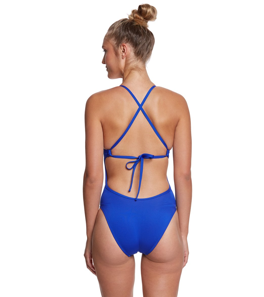 Dolfin Bellas Women s Solid Tie Back One Piece Swimsuit at ... f982738317