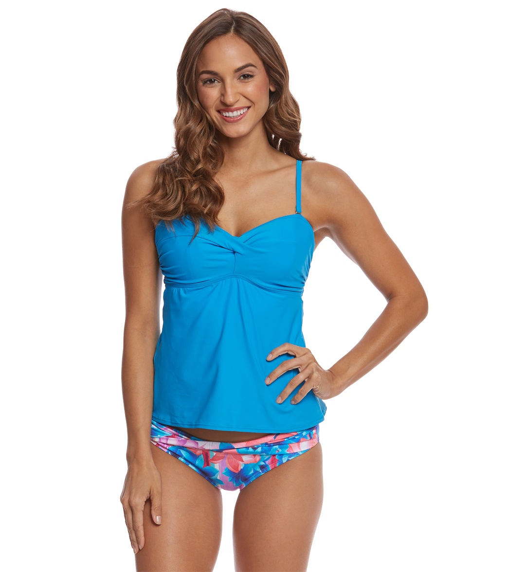 9566bac3b5745 Sunsets French Blue Iconic Twist Tankini Top (D DD Cup) at ...