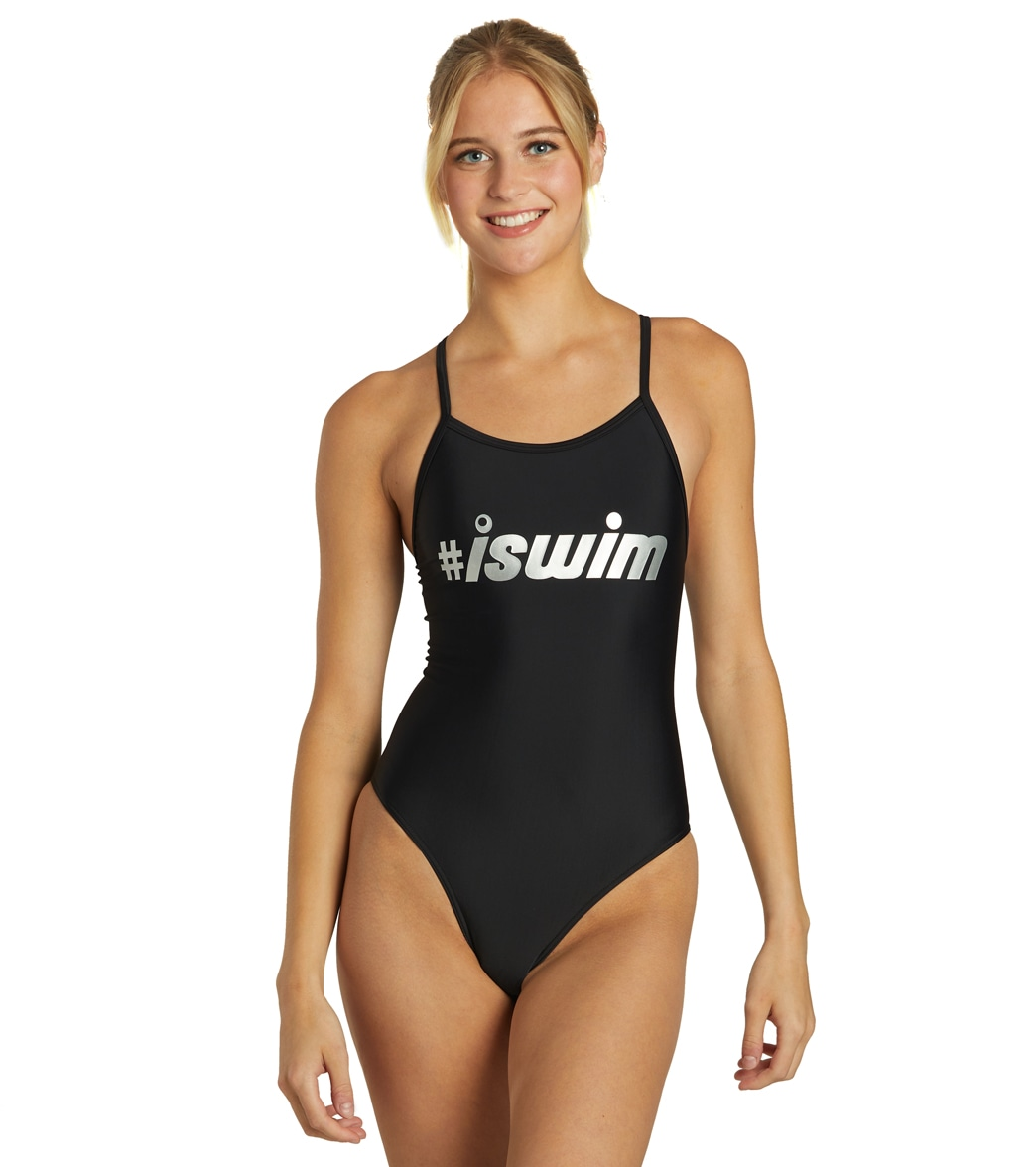 f492ebcef6668 iSwim Women's Hashtag Thin Strap One Piece Swimsuit at SwimOutlet.com
