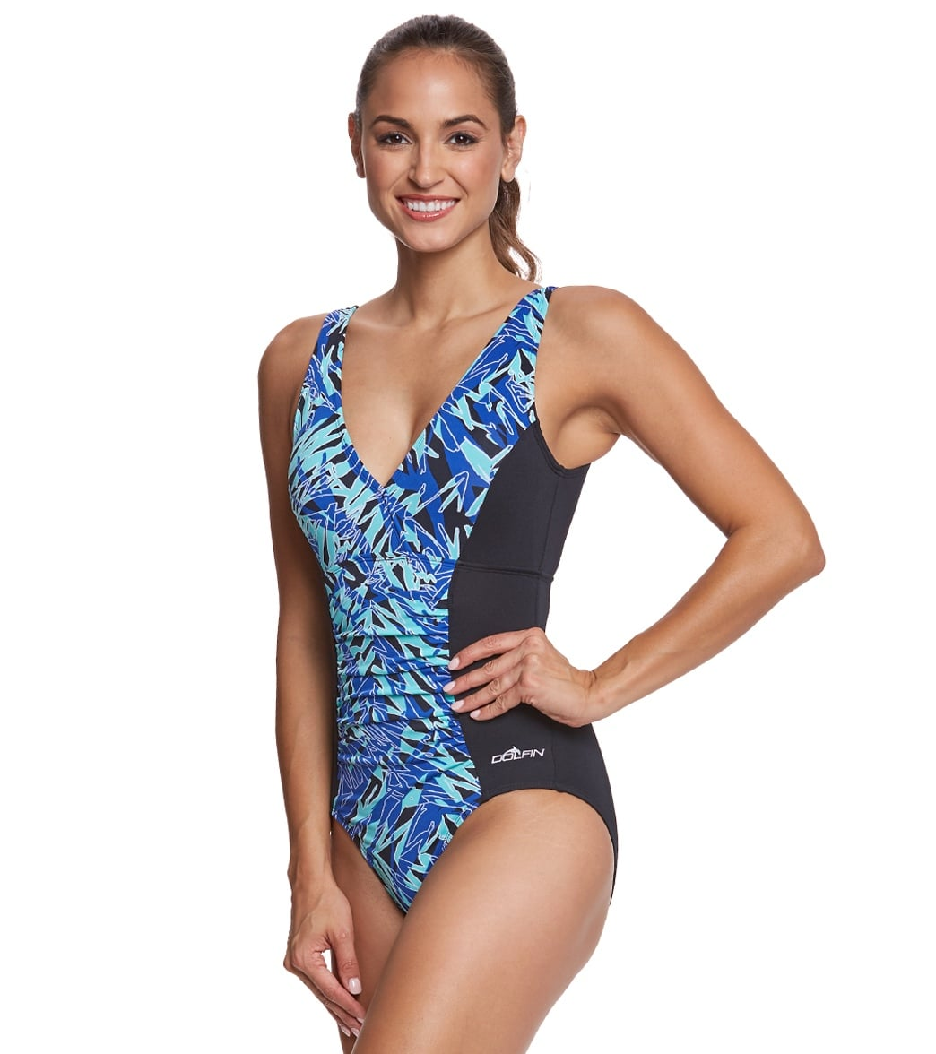 de8bee46dc914 Dolfin Aquashape Women s St Lucia Shirred One Piece Swimsuit at ...