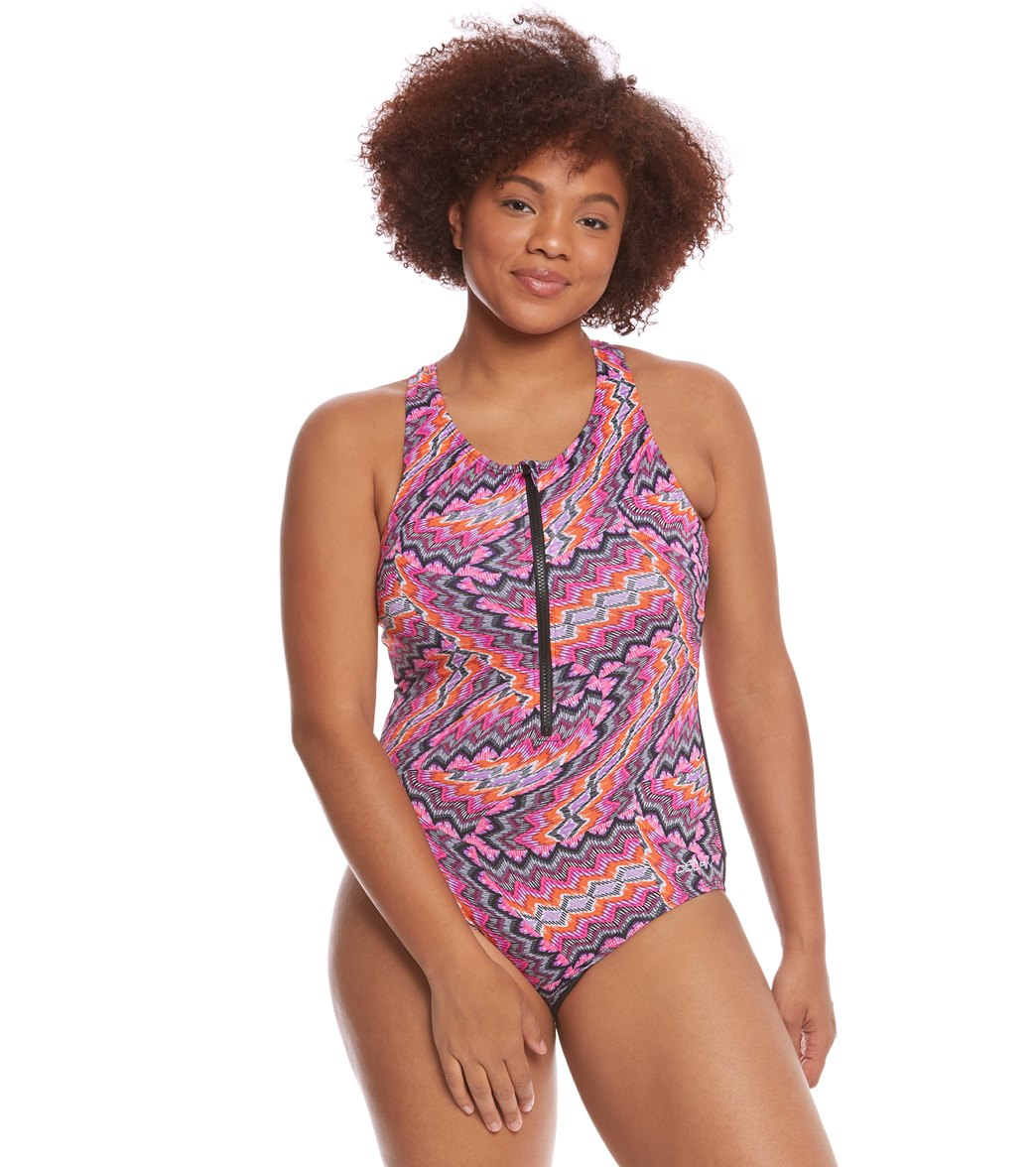 Dolfin Aquashape Women s Plus Size Printed Zip Front One Piece Swimsuit at  SwimOutlet.com - Free Shipping 6a2fa40ed