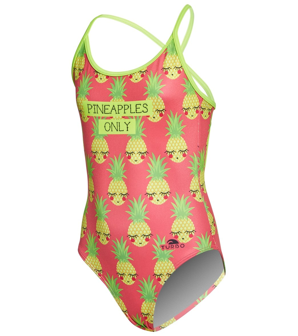 c4af5306c357e Turbo Girls' Pineapples Only One Piece Swimsuit at SwimOutlet.com