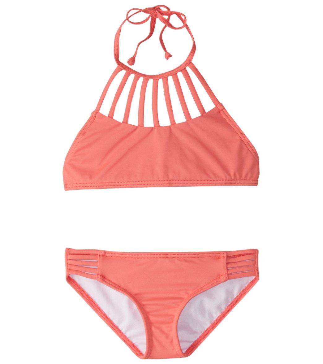 ceddf670164413 Billabong Girls  Sol Searcher High Neck Bikini Set (4-14) at SwimOutlet.com  - Free Shipping