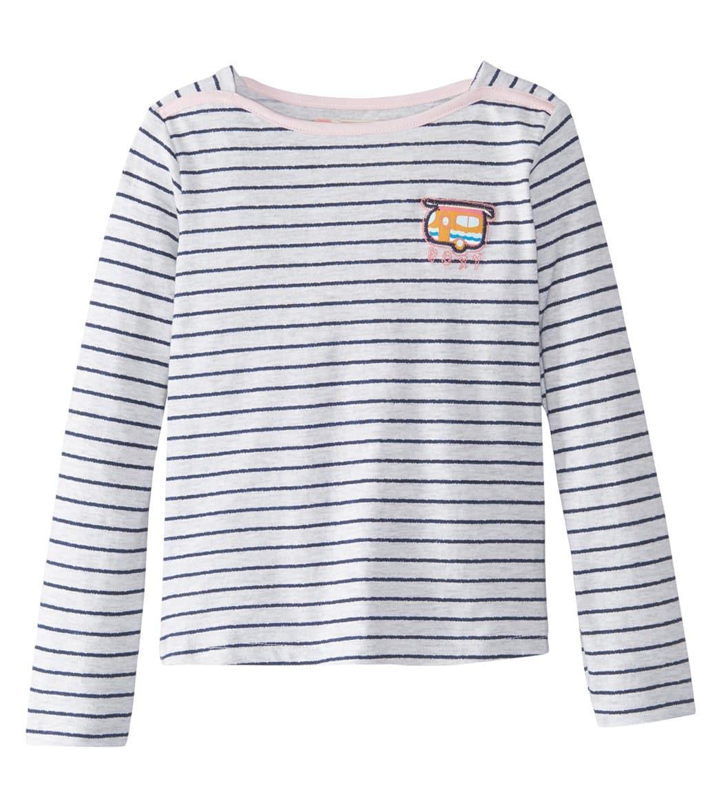 Roxy Girls' Scat Singing Tee Shirt 2T-7 - Metro Heather Wavy Stripe 6 Cotton - Swimoutlet.com