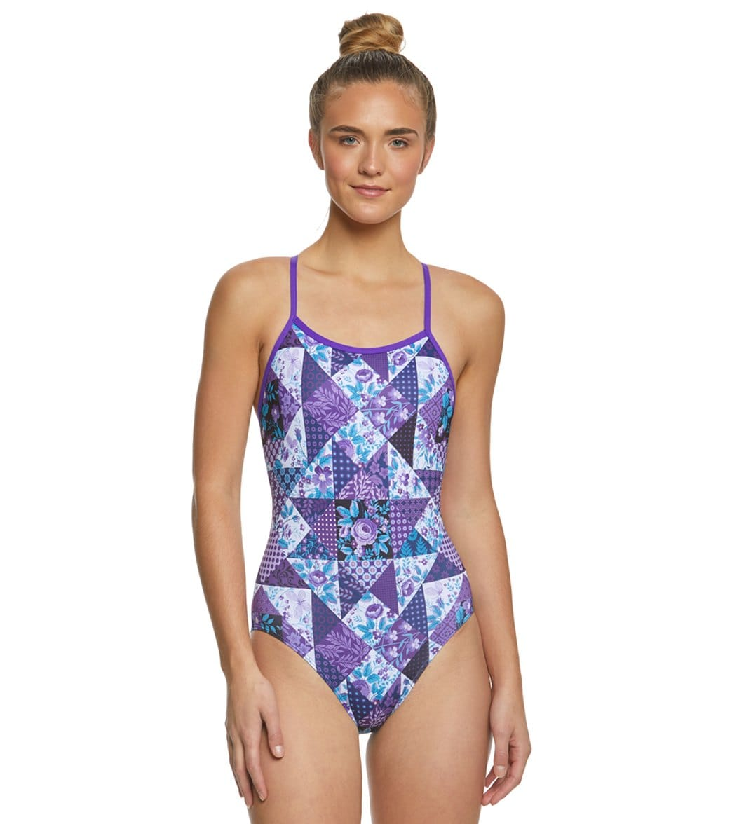 fbe14af167c Amanzi Womens Purple Plaid One Piece Swimsuit at SwimOutlet.com - Free  Shipping