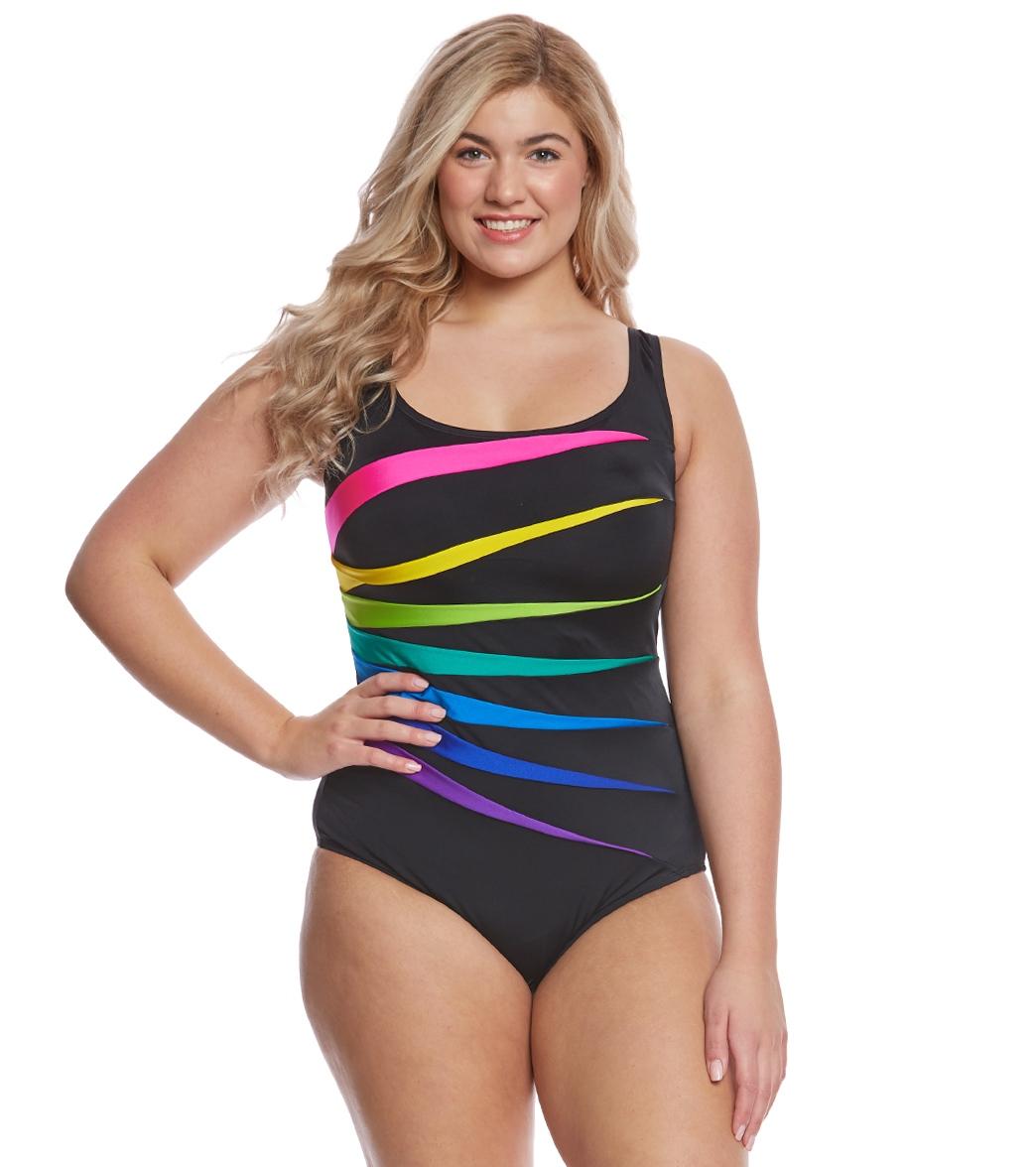 1e8ef2d178a ... Longitude Plus Size Color Block Fan One Piece Swimsuit. MODEL  MEASUREMENTS