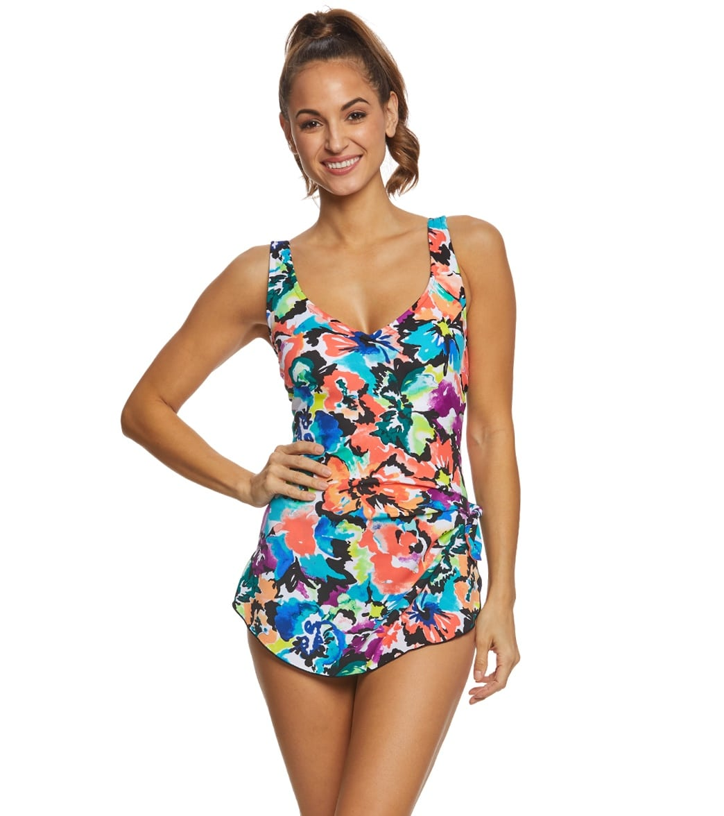 3cbafa0808 Maxine Blossom Spa Chlorine Resistant Sarong One Piece Swimsuit at  SwimOutlet.com - Free Shipping
