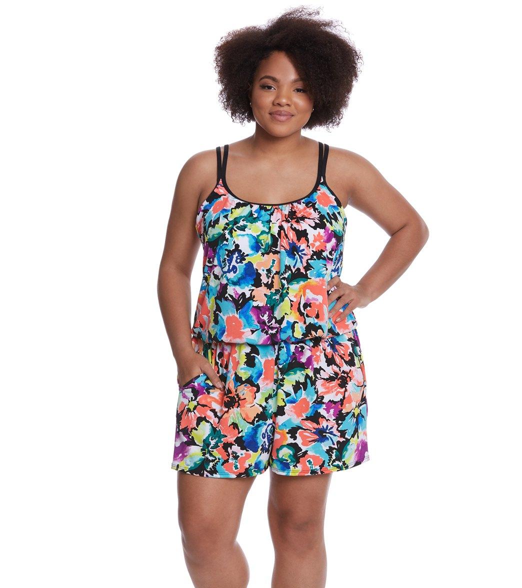 Maxine Plus Size Blossom Swim Romper at SwimOutlet.com - Free ...