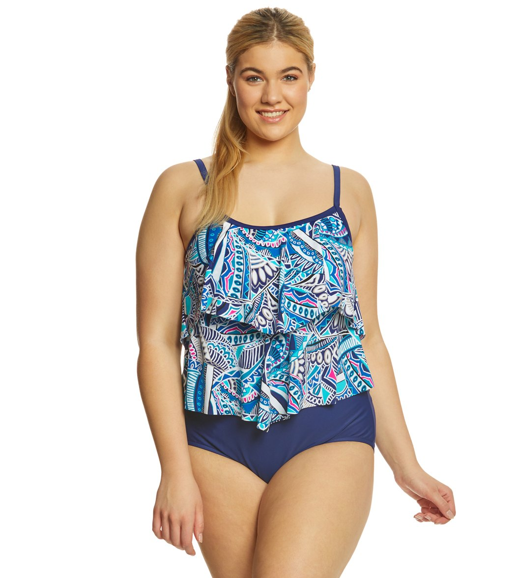 972ef23f1b ... Maxine Plus Size Island Days Double Tier One Piece Swimsuit. Play  Video. MODEL MEASUREMENTS