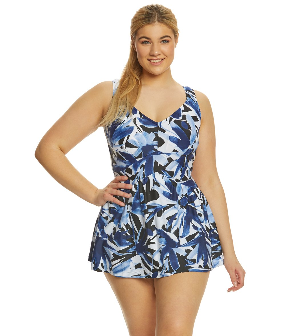 387bfcb2c157 Maxine Plus Size Ink Empire Swimdress at SwimOutlet.com - Free ...