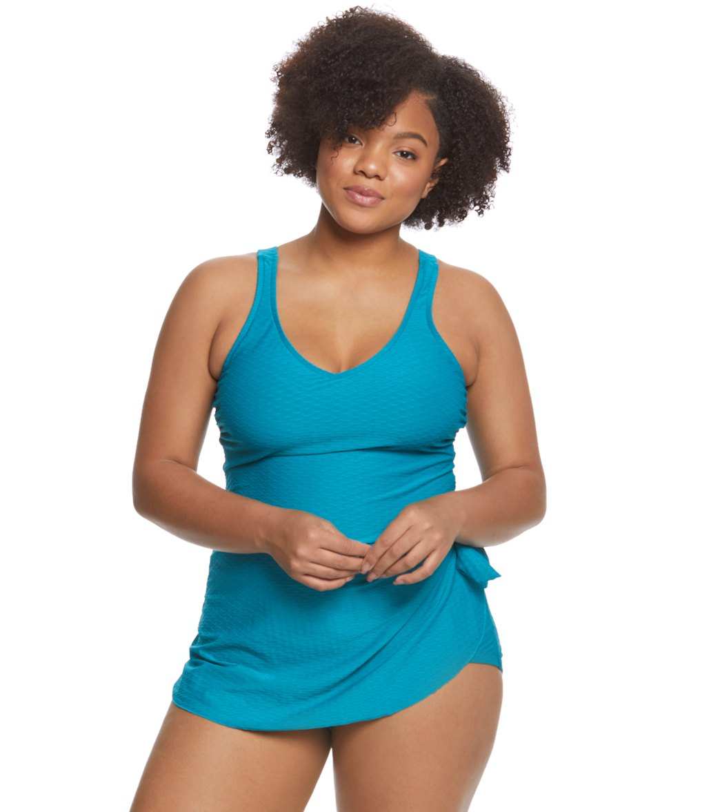 407def792d6 Maxine Plus Size Spa Solid Chlorine Resistant Sarong One Piece Swimsuit at  SwimOutlet.com - Free Shipping