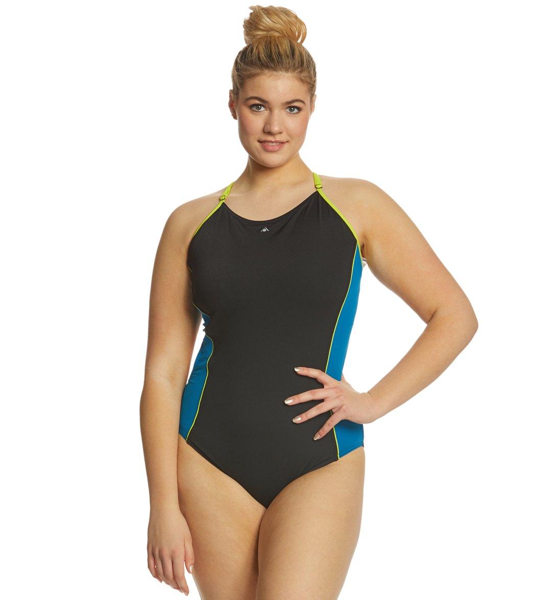7c7671f9794 Women s Plus Size Nastia One Piece Swimsuit Play Video. MODEL MEASUREMENTS