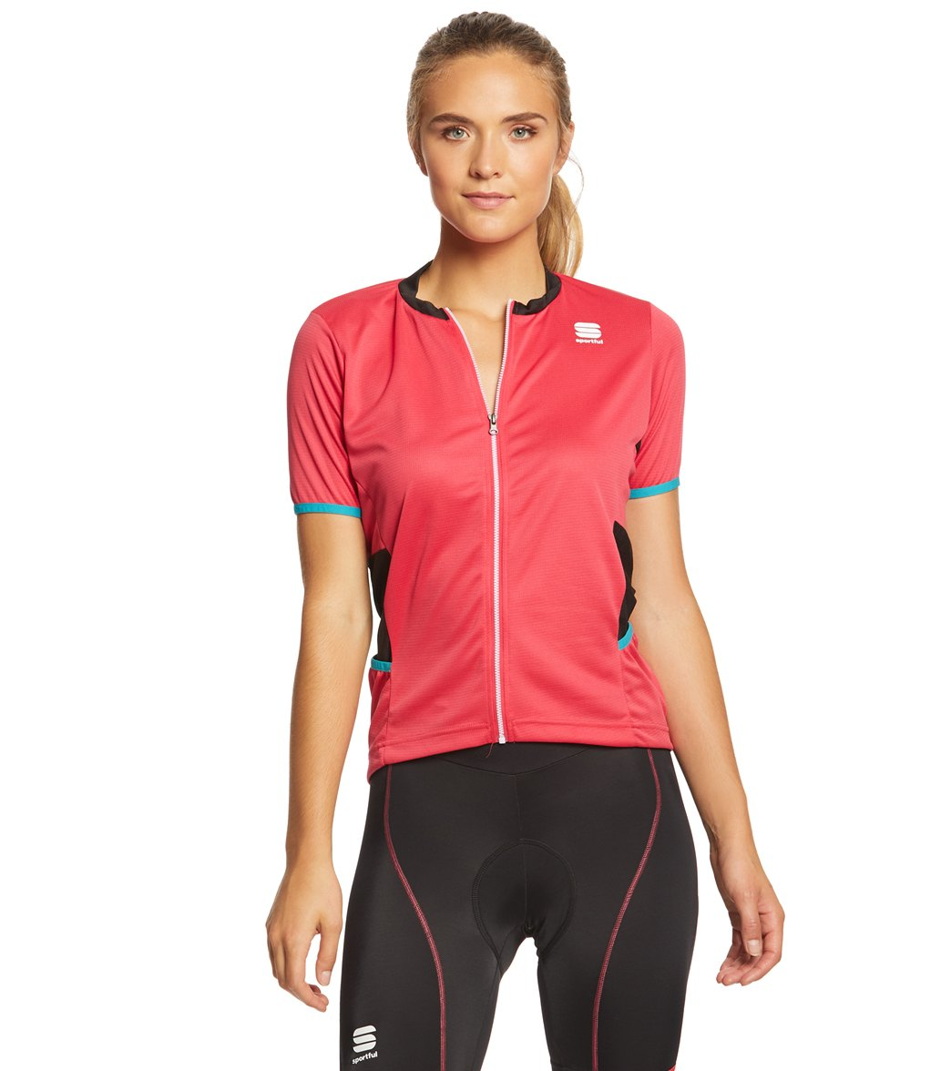 Sportful Women's Luna Cycling Jersey - Pink Coral/Black Medium Polyester - Swimoutlet.com