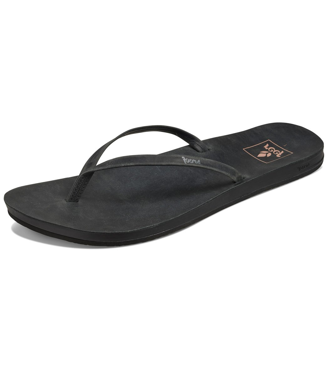a04668f5eafb Reef Women s Cushion Bounce Slim Leather Flip Flop at SwimOutlet.com - Free  Shipping