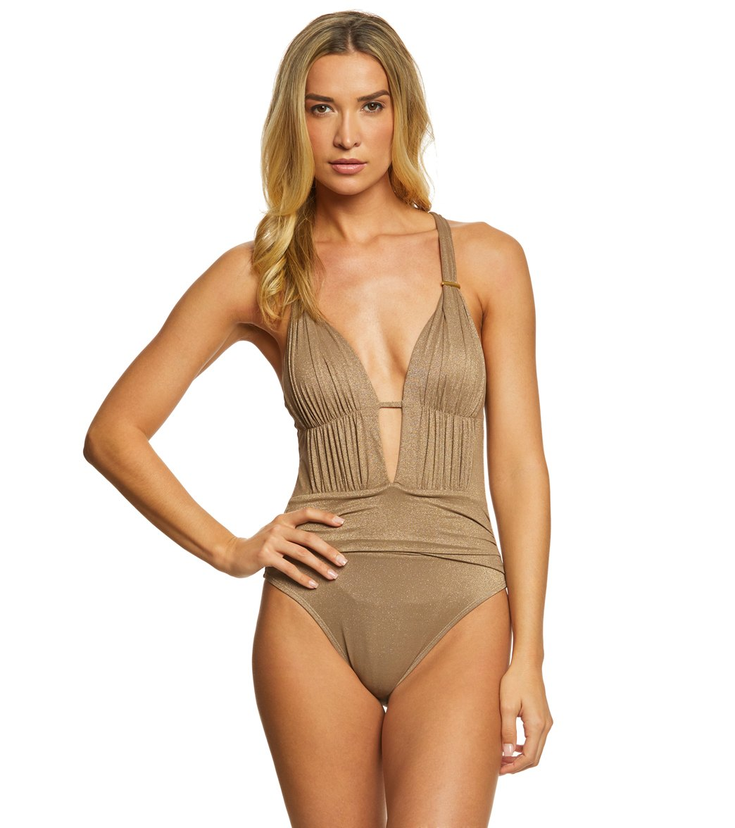 0ba51ff420b ... Kenneth Cole Lurex Solids Plunge One Piece Swimsuit. Play Video. MODEL  MEASUREMENTS