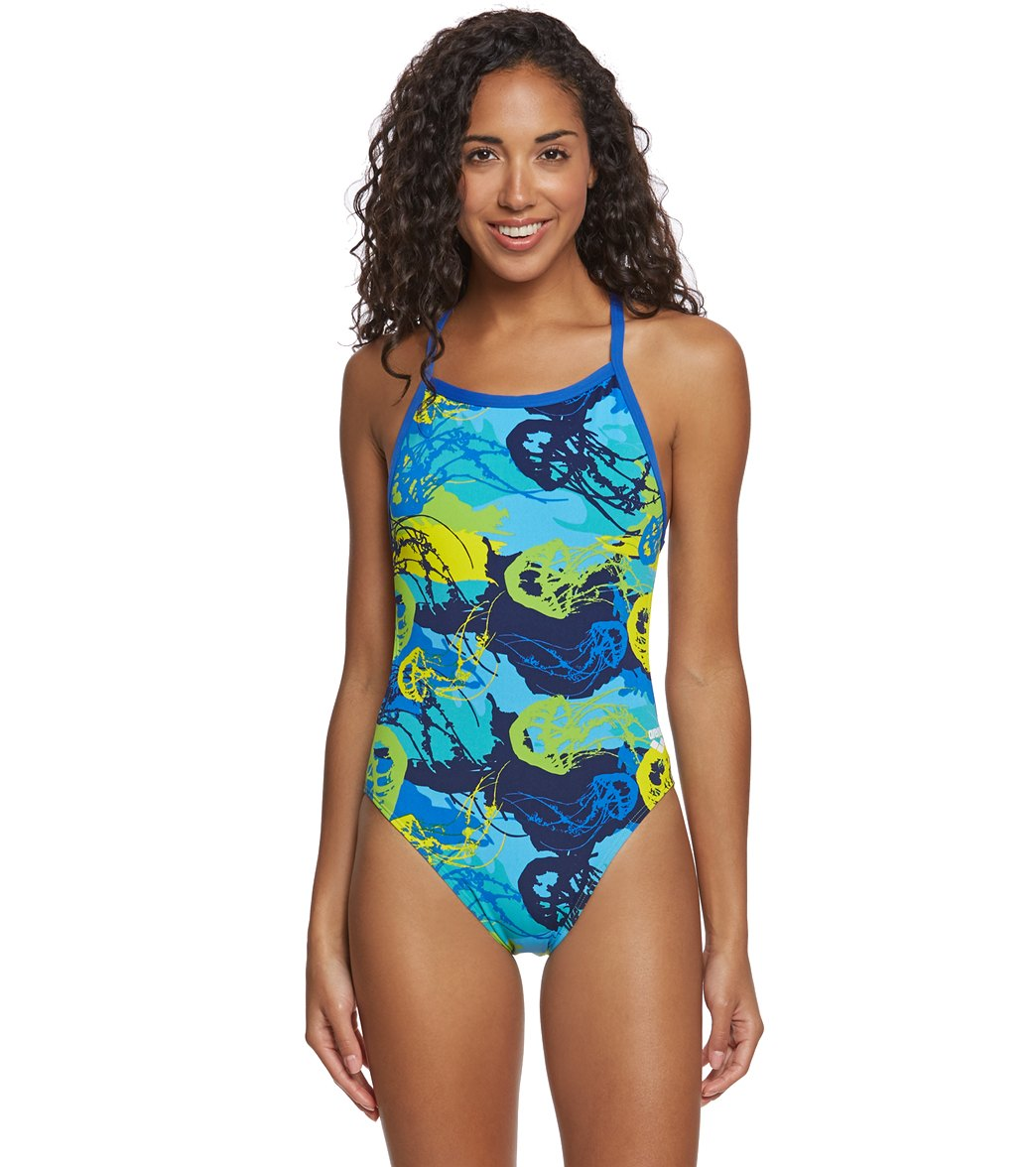 be985bdffc6fa ... Arena Women's MaxLife Underwater Thin Strap Open Racer Back One Piece  Swimsuit. Play Video. MODEL MEASUREMENTS