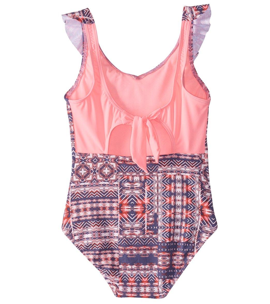 05407c64d3492 Roxy Girls  Wavy Beach Printed One Piece Swimsuit (Big Kid) at ...