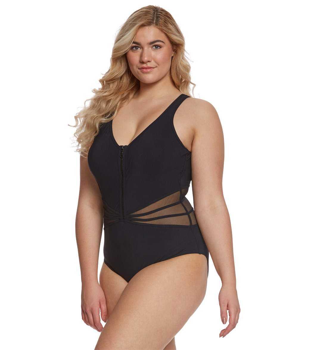 d45f4ae638f14 Profile by Gottex Plus Size Grand Prix One Piece Swimsuit at ...
