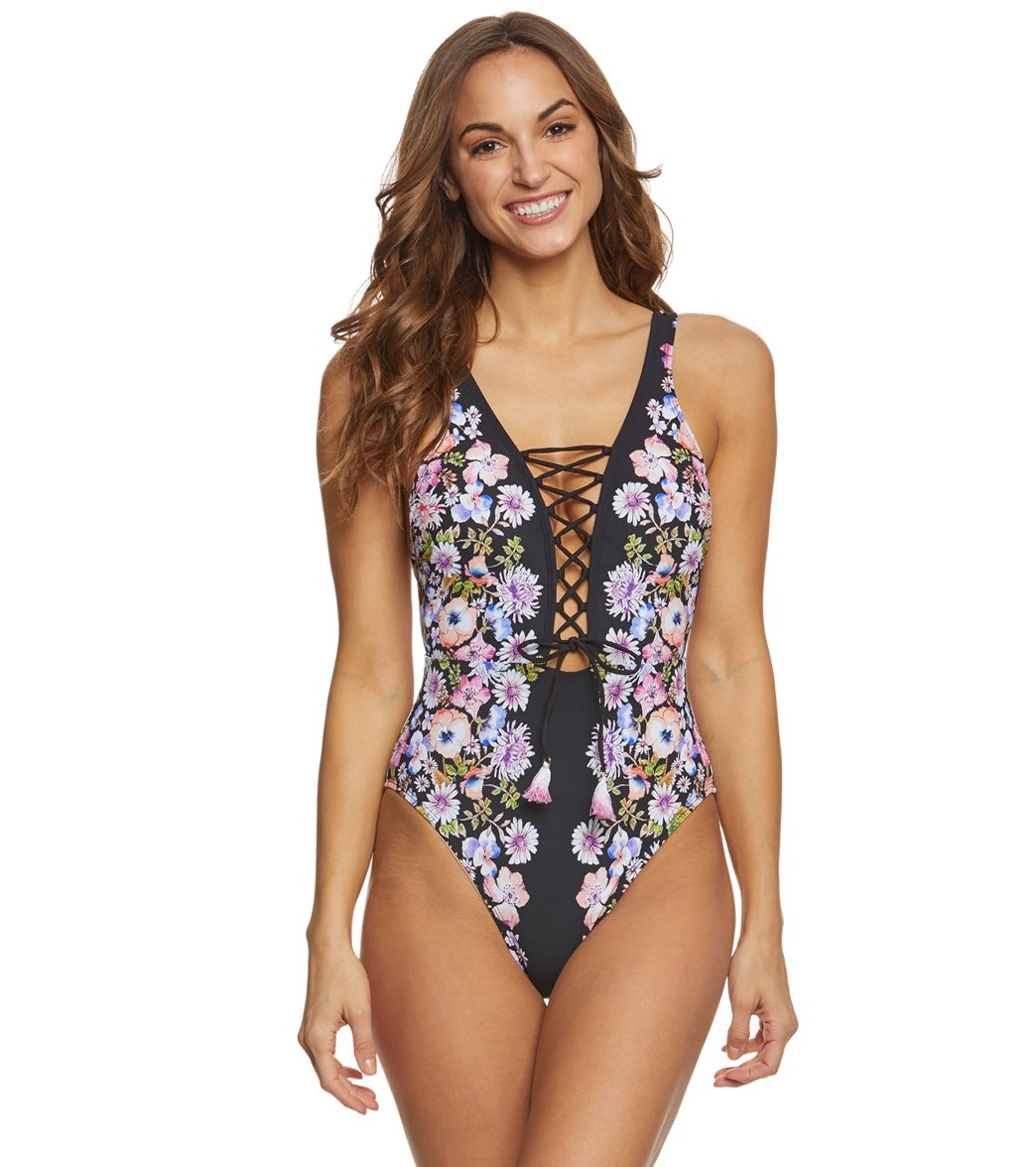 9e87339297f7f Kenneth Cole Reaction Dark Romance Lace Up Plunge One Piece Swimsuit at  SwimOutlet.com - Free Shipping