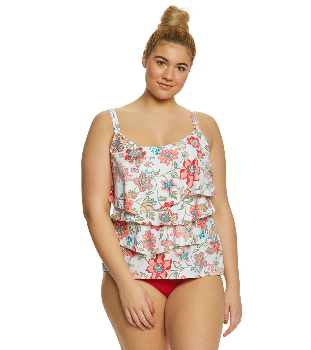 003a5862ce Coco Reef Plus Size Fresno Floral Aura Ruffle Tankini Top at SwimOutlet.com  - Free Shipping