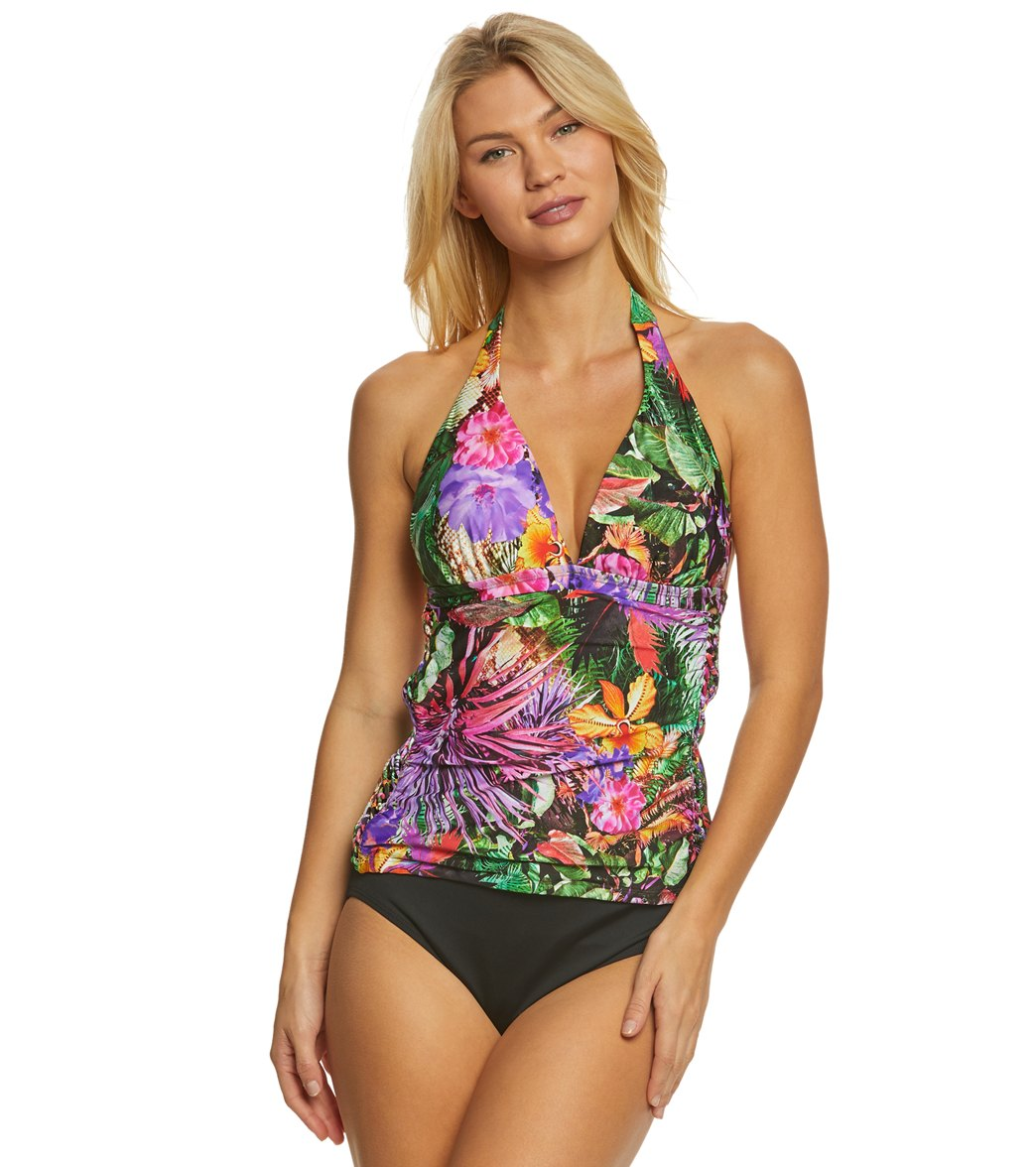 10a1fd943dc1c Jantzen Floral Tropical Halter Tankini Top at SwimOutlet.com - Free Shipping