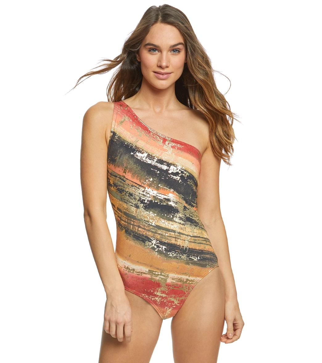 4db15657597b0 Carmen Marc Valvo Pacific Sunset One Shoulder One Piece Swimsuit at  SwimOutlet.com - Free Shipping