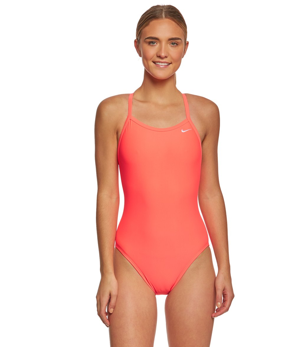 f5412c2b3da Nike Women's Solid Racerback One Piece Swimsuit at SwimOutlet.com - Free  Shipping