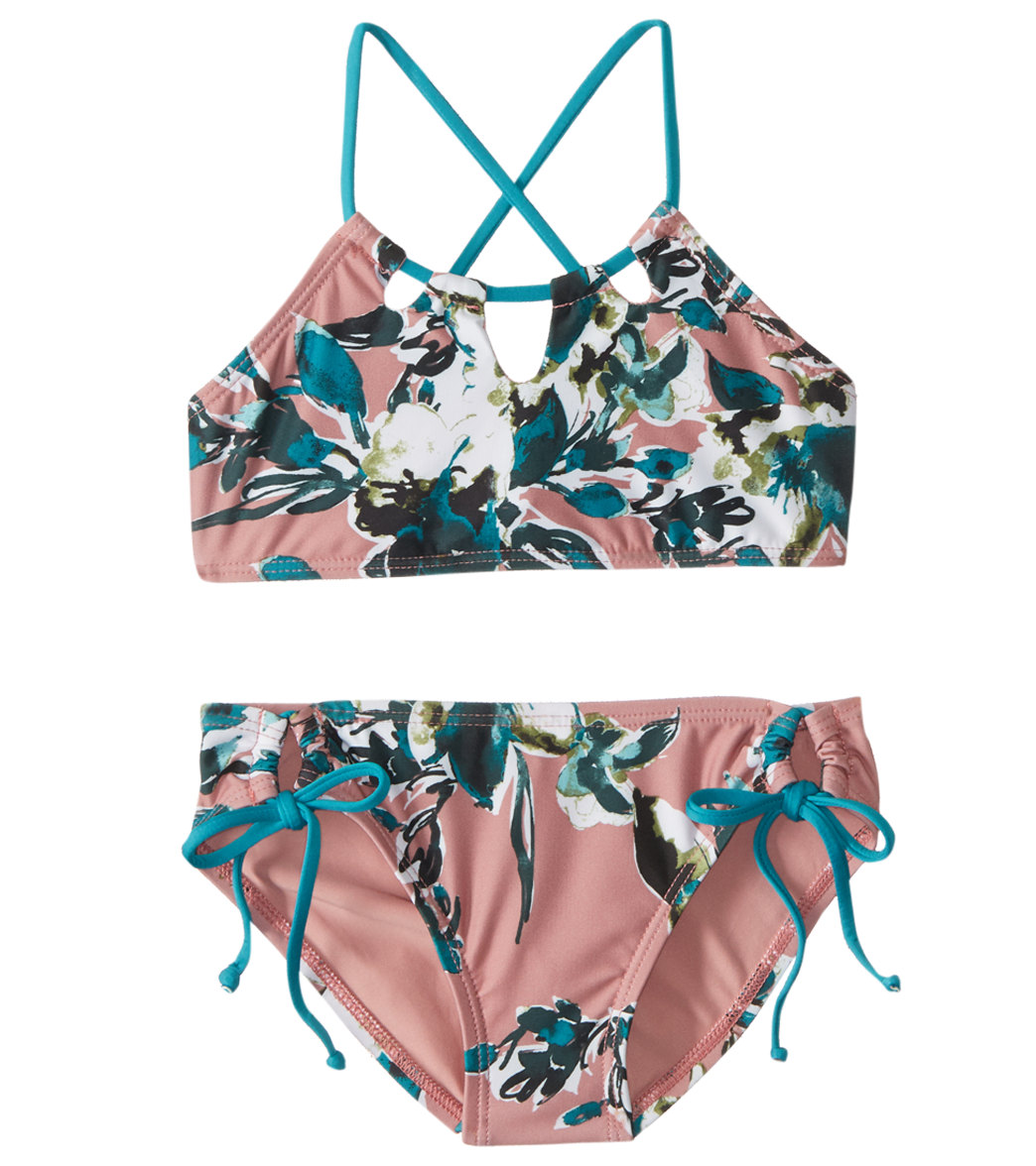 aad0f2105398e Splendid Girls' Watercolor Floral High Neck Two Piece Bikini Set (Big Kid)  at SwimOutlet.com - Free Shipping