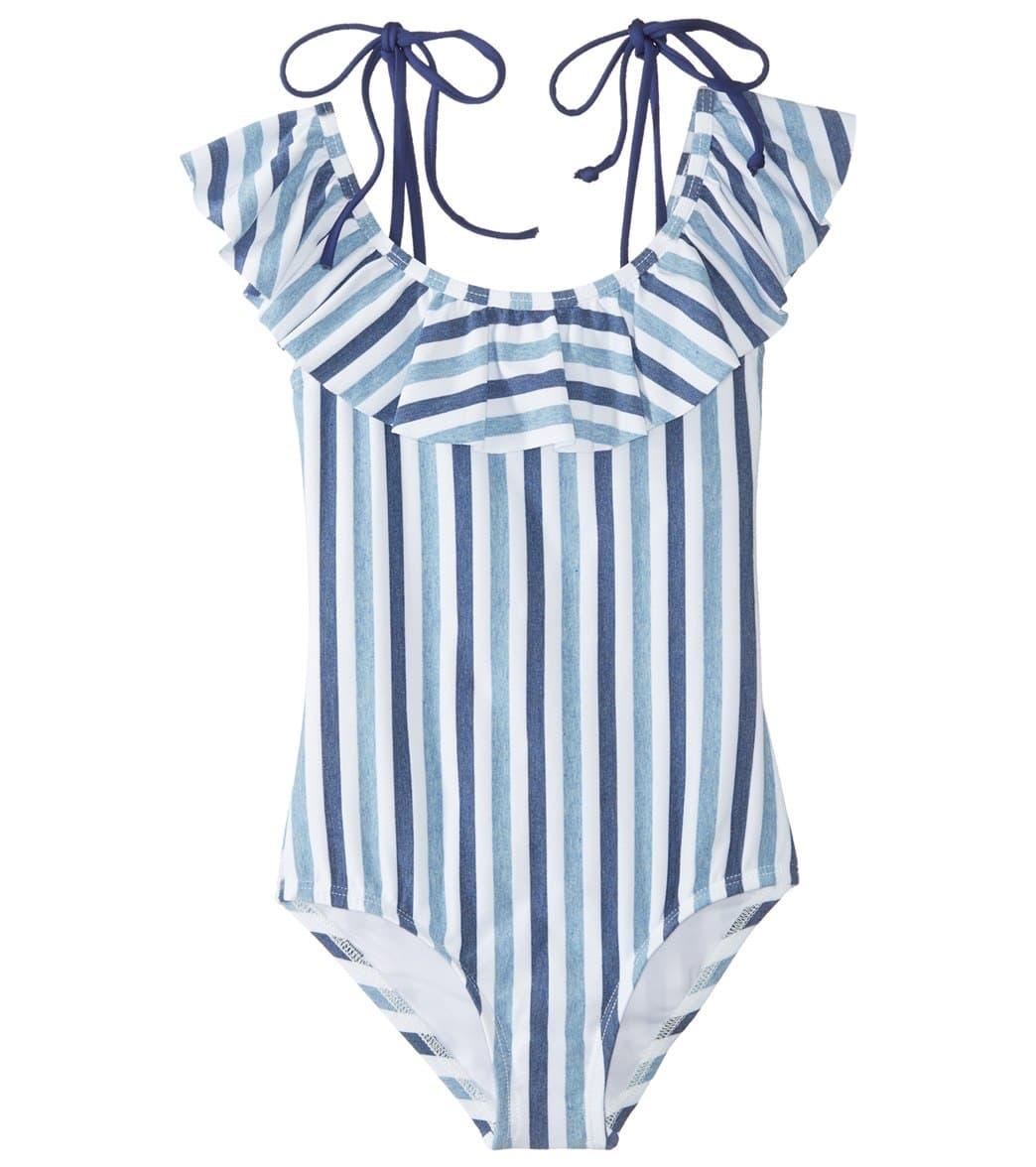 7aac44bde987 Splendid Girls' Tie Dye Stripe Ruffle One Piece Swimsuit (Big Kid) at  SwimOutlet.com - Free Shipping