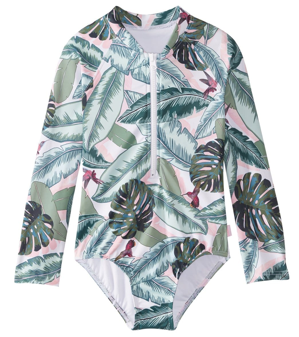 f241b4fa59 Seafolly Girls' Palm Beach Long Sleeve One Piece Swimsuit (Big Kid) at  SwimOutlet.com - Free Shipping