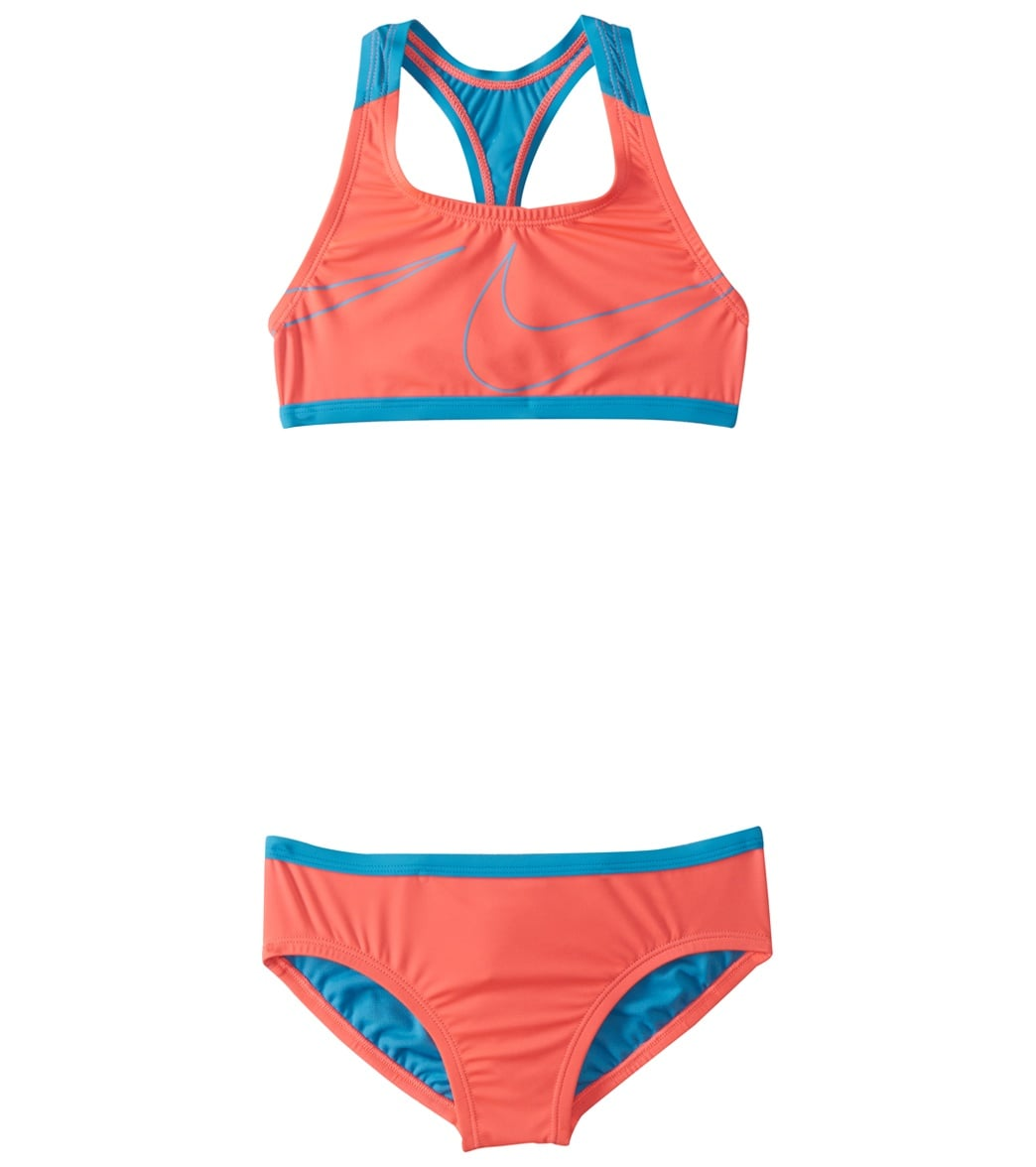 a0b75868ed17 Nike Girls' Racerback Sport Two Piece Bikini Swim Set (Big Kid) at  SwimOutlet.com